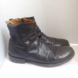 Fiorelli + Baker men's black leather zip-up boots